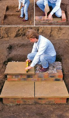 DIY Garden Steps Stairs Lots of ideas tips tutorials Including from diy network this great tutorial on how to build brick and paver stairs Patio Steps, Brick Steps, Outdoor Steps, Retaining Wall Steps, Outdoor Walkway, Backyard Patio, Backyard Landscaping, Landscaping Ideas, Large Backyard