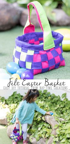 make your own adorable felt Easter basket with this easy DIY tutorial. No sewing machine needed, hand sew or hot glue. Watch the video tutorial for help