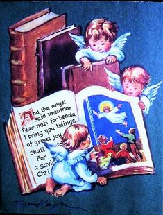 Angels reading book
