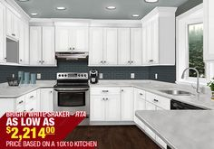 Discount White Shaker Style Kitchen Cabinets | Cheap RTA Cabinets | Bright White Shaker | In Stock Kitchens