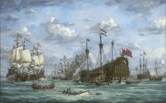 """The capture of the """"Royal Charles"""" river Medway 1667 ,Chatham , by Jan de Quelery Anglo Dutch Wars, Sea Pictures, Hms Victory, Ship Of The Line, Dutch Painters, Sailing Ships, Oil On Canvas, Battle, History"""