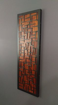 Wood Wall Art- Wood and Metal Wall Art Sculpture – Welded Steel Nails, Copper, & Ribboned African Mahongany Accent Piece (Medium Size) - Metal Art Metal Sculpture Wall Art, Wall Sculptures, Metal Wall Art, Wood Art, Wall Wood, Wood Mosaic, Mosaic Wall, Metal Walls, Wood And Metal
