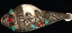 Tibetan Ceremonial Horn Conch Shell Sterling by WorldofBacara $400.00