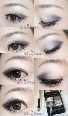 Purple ombré eyes for asian eyes. Beautiful makeup for the night time