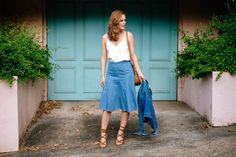 denim skirt with tank top and denim jacket