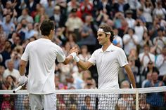 Roger Federer and Santiago Giraldo shake hands after their match