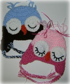 Twin Baby Boy and Girl OWL HATS Crochet Kids Winter Hat Earflap Hat