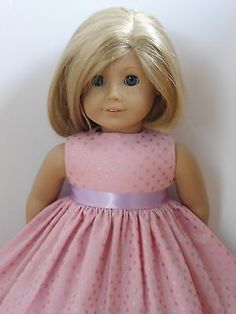 New-Doll-Clothes-Fits-18-American-Girl-Doll-Handmade-Pink-Dress-Silver-Dots