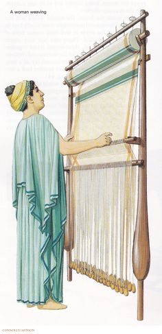 A Woman Weaving in Ancient Greece. (Peter Connolly/Athens/user: Aethon)