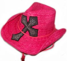 517f82dcbe7a3 This Hot Pink Rhinestone Western Cross straw cowboy hat has a draw string  with a cool cross design for a modern flair in this easy to shape western  straw ...