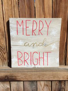 Hand Painted Merry and Bright Sign by FearfullyMadeCo on Etsy