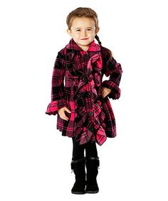 This Pink Plaid Double-Ruffle Coat - Infant, Toddler & Girls is perfect! #zulilyfinds