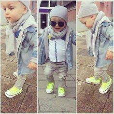 Little boy all dressed up.skinny jeans,denim shirt,converse,scarf and cap...adorable! Fashion kids!