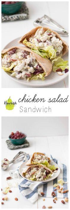 Chicken Salad Sandwich | Greek yogurt + chicken + red grapes + celery + mixed nuts + mustard = healthy and delicious| www.nourishnutritionblog.com