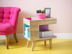 The Oliver Wood Side Table in pink and green