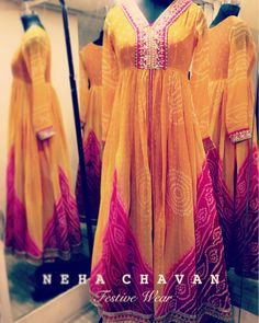 """28 Likes, 5 Comments - Neha Chavan (@ncbynehachavan) on Instagram: """""""" Redesign. Renovate. Reuse. """" The traditional bandhani ❤️ This gorgeous Anarkali gown made from a…"""""""