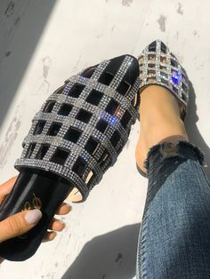 Shop Flats Shoes Glittering Hollow Out Pointed Toe Flat Sandals Flat Sandals, Shoes Sandals, Flats, Heeled Sandals, Flat Shoes, Stylish Sandals, Slipper Sandals, Sandals Outfit, Oxford Shoes