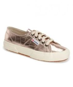 These chic metallic sneakers are a surprisingly neutral wardrobe addition, since they complement a wide range of pastels and neutrals and can be worn year-round.