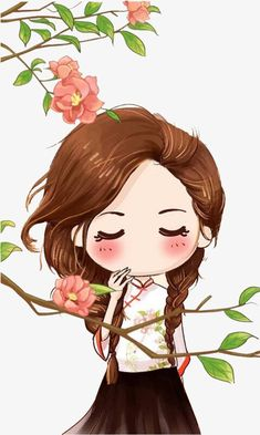 64 ideas for flowers girl illustration cute Anime Chibi, Kawaii Anime, Kawaii Chibi, Cute Chibi, Kawaii Cute, Kawaii Girl, Cartoon Cartoon, Cute Girl Wallpaper, Black Wallpaper