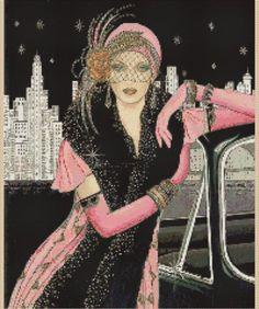 Cross Stitch Chartart Deco Lady Pink Dress Leaning on Car City Background 6VB 43 | eBay