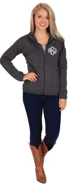 Monogrammed Sweater Knit Fleece Jacket