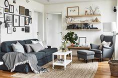 New living room grey sofa ikea shelves Ideas Ikea Living Room, Living Room Colors, Living Room Grey, Interior Design Living Room, Living Room Designs, Living Room Furniture, Strandmon Ikea, Grey Sofa Decor, Gray Sofa