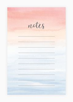 Ipad Notes Discover Notepad - Watercolor Notepad - Desk Accessory Note Pad Painted Pink and Blue Ombre Watercolor Wash To Do Planner, Planner Pages, Budget Planner, Colorful Notes, Memo Notepad, Daily Planner Printable, Bullet Journal Ideas Pages, Good Notes, Journal Stickers