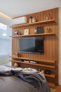 Parede para TV https://www.homify.com.br/livros_de_ideias/29217/conheca-um-apartamento-ecletico-deslumbrante