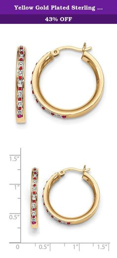 Yellow Gold Plated Sterling Silver Diamond & Ruby 25mm Round Hoop Earrings. Using a patented breakthrough in the art of creating diamond accent jewelry, one genuine diamond (0.005 ct. tw) is set into each piece of precious metal. Each piece is then pavéd with diamond dust crystallized in enamel, resulting in a genuine diamond accent product with the look of high-end pavé jewelry at a fraction of the cost.