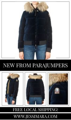 This is the 'Stephany' Navy Velvet Short Puffer Coat by stunning brand Parajumpers. Hooded down-filled polyester velvet bomber jacket. The hood is adjustable by means of a drawstring and features a removable real fur trim. Two invisible zippered pockets in front. PJS patch on the left sleeve. Ribbed cuffs and bottom. Two-way front zipper with the PJS elastic tape at the neck.