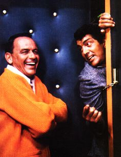 Dean Martin and Frank Sinatra goofing around on the set of Marriage on the Rocks Photographed by Bob Willoughby. Hollywood Stars, Classic Hollywood, Old Hollywood, Bogie And Bacall, Joey Bishop, Sammy Davis Jr, Jerry Lewis, Old Movie Stars, Dean Martin