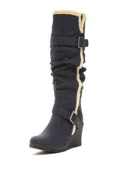 Bucco Emina Faux Fur Trim Tall Boot on HauteLook. Cute. How big is the wedge?