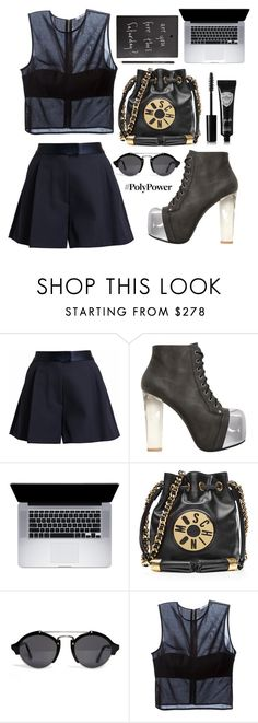"""Only Black"" by sandraindriani ❤ liked on Polyvore featuring 3.1 Phillip Lim, Jeffrey Campbell, Moschino, Illesteva, T By Alexander Wang and Eyeko"