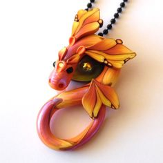 Dragon Necklace Polymer Clay Dragon in Sunset Orange by Claybykim