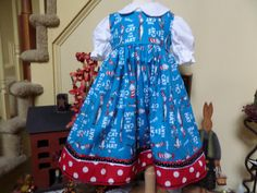 The Cat in the Hat ... Dr Seuss... little girls jumper dress and blouse size 4 ..... by Sew Cute In The Country, $40.00