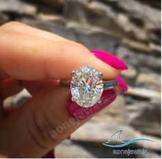 Solitaire Along Oval Cut Diamond For Women's Wedding & Engagement Ring Size 5-11 #aonejewels #SolitairewithAccents