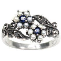 Silver Natural Seed Pearl and Sapphire Ring