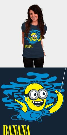 Minions – Banana – Nirvana Parody T Shirt   Cute and hilarious Nirvana parody T shirt, featuring a minion from the Despicable Me movie series. The artist has replaced the swimming baby with a cute minion   Buy this Minion movie tee shirt at http://shirtminion.com/minionsnirvanatshirt