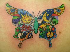 Hippie Butterfly Tattoo Design