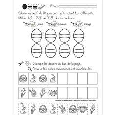 Fichier PDF téléchargeable En noir et blanc seulement 1 page  Dans cet exercice, l'élève doit colorier les 8 oeufs pour qu'ils soient tous différents en utilisant une ou plusieurs des couleurs données. Il doit également compléter les suites logiques en découpant les dessins au bas de la page et en les plaçant au bon endroit.