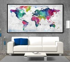 World map poster, large world map, world map wall art, watercolor map World Map Wall Art, World Map Poster, Watercolor Map, Art Base, Wall Murals, Wall Art Prints, Artwork, Travel Pictures, Walls
