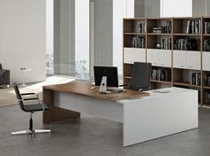 Modern Executive Office Furniture dark chocolate modern u-shaped office desk with brushed nickel