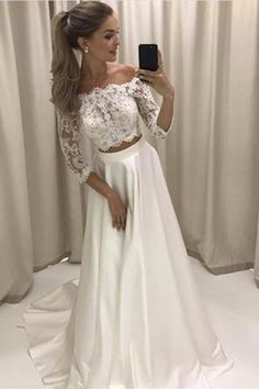 Two Piece 3/4 Sleeve Off the Shoulder Lace Satin Beach Wedding Dress,Prom Dress,P602