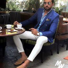 Royal Blue Men Suits For Wedding Business Suit Blazer Petal Lapel Costume Homme Party Suits(Bluejacket+White Pant) - Men's Suits & Suit Separates Mens Fashion Suits, Mens Suits, Womens Fashion, Stylish Men, Men Casual, Blazer Outfits Men, Blue Blazer Outfit Men, Men Blazer, Casual Outfits