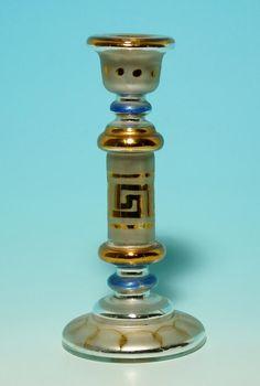 """Bauernsilber / Silberglas Kerzenleuchter circa 1900"""