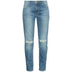 Current/Elliott The Fling low-rise boyfriend jeans ($288) ❤ liked on Polyvore featuring jeans, pants, bottoms, pantalon, trousers, mid indigo, ripped denim jeans, ripped boyfriend jeans, distressed jeans and destructed boyfriend jeans