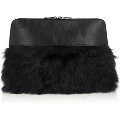 Iris and Ink Rena shearling-paneled leather clutch (1.465 DKK) ❤ liked on Polyvore featuring bags, handbags, clutches, grey, gray leather handbag, gray leather purse, grey leather handbags, genuine leather handbags and gray purse