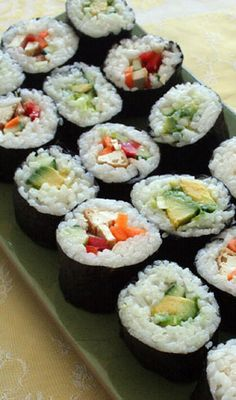 "Is sushi raw fish? The word ""sushi"" refers to the type of rice used to make this traditional Japanese dish. You can use any kind. Vegan Foods, Vegan Dishes, Vegan Vegetarian, Sushi Recipes, Whole Food Recipes, Vegan Recipes, Dinner Recipes, Holiday Recipes, Vegan Protein Sources"
