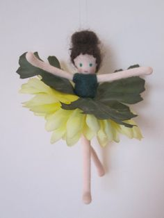 Yellow Daisy Flower Fairy Princess by EllieDolls on Etsy, $20.00