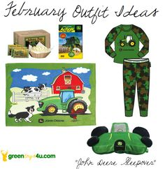 With all the snow we've been having lately and the kids getting those chilly days off from school, why not make it a Green night by planning a John Deere sleepover? Check out all of our comfy kids pajamas, fleece bedding, Action DVDs, and even Johnny Pop Popcorn at GreenToys4u.com! John Deere Outfit Idea.